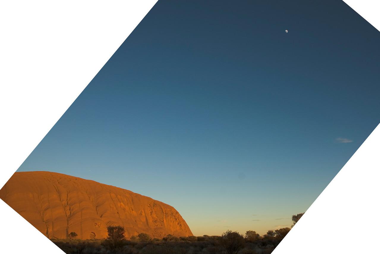 Uluru and Moon at Sunrise 45 Degrees - Northern Territory, Australia
