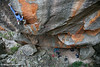 Neil Monteith attacks the crux sequence during the FFA of Chrysalis (27), Red Rocks, Grampians, Victoria, Australia