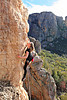 Climber on Horn Piece (13), Organ Pipes, Arapiles, Victoria, Australia