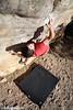 Luke Stayley on Three Moves To Glory, Golden Streak Boulder, Arapiles, Victoria, Australia