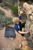 "Bradley Woods bouldering on the ""Elephant Boulder"", Mt Arapiles, Victoria, Australia"