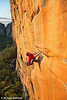 Will Monks Preps on Mirage (27), Taipan Wall<br /> Grampians, Victoria, Australia