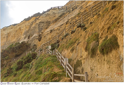 Wooden staircase down the cliff