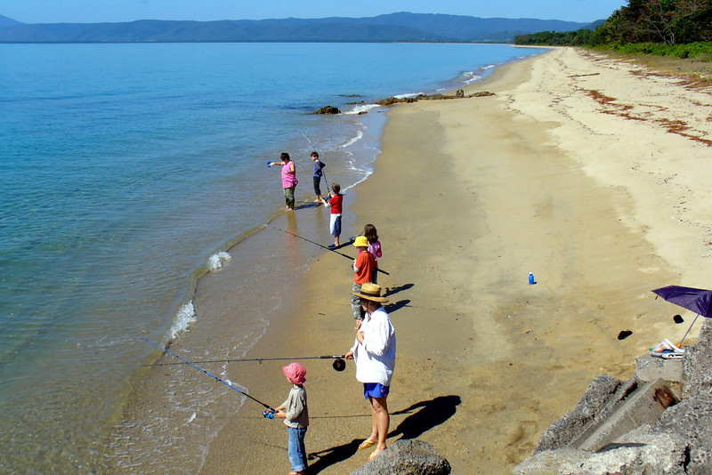 A keen fishing family, north of Port Douglas