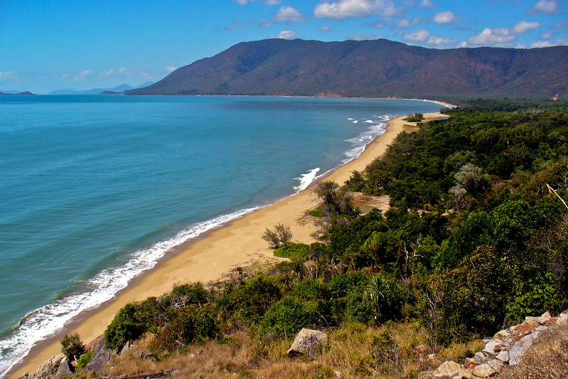Looking back down the coast on the road from Cairns to Port Douglas.