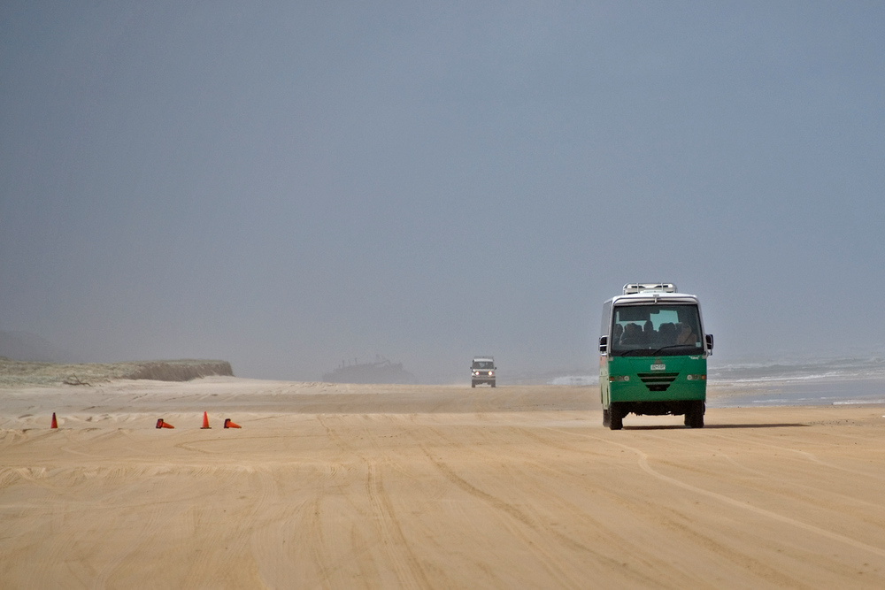 Buses on the beach, Fraser Island, Queensland, Australia