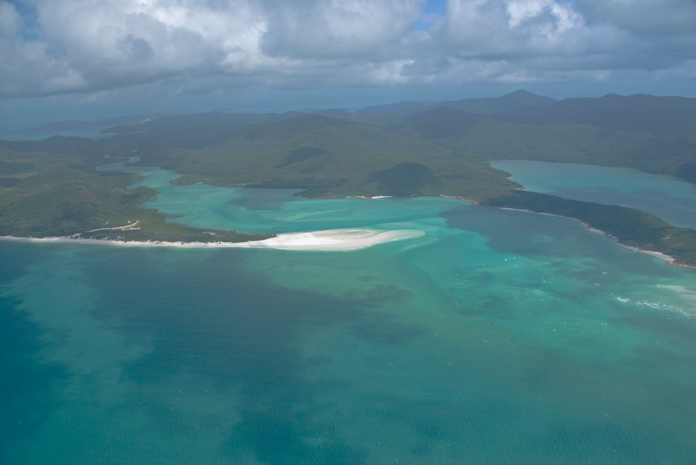 Aerial view of 4-mile beach in the Whitsunday Islands, Queensland, Australia