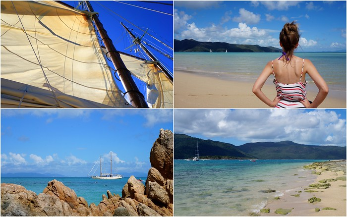 Sailing the Whitsunday Islands in Australia.