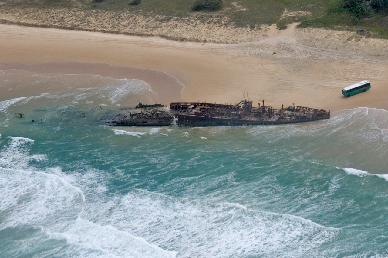 Shipwreck from Air, Fraser Island - Queensland, Australia