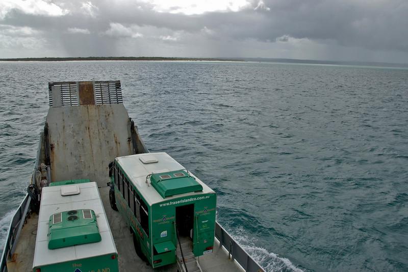 Buses on Ferry, Fraser Island - Queensland, Australia.jpg
