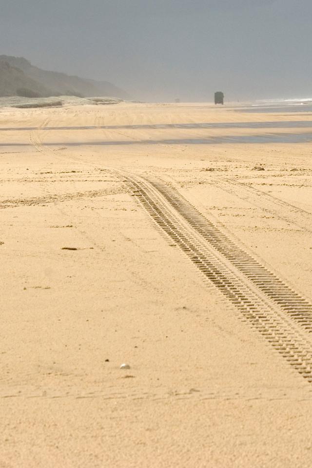 Bus and Tracks in Sand, Fraser Island - Queensland, Australia