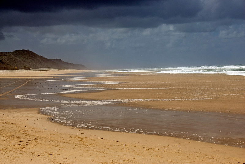 Storm Clouds and Beach, Fraser Island - Queensland, Australia