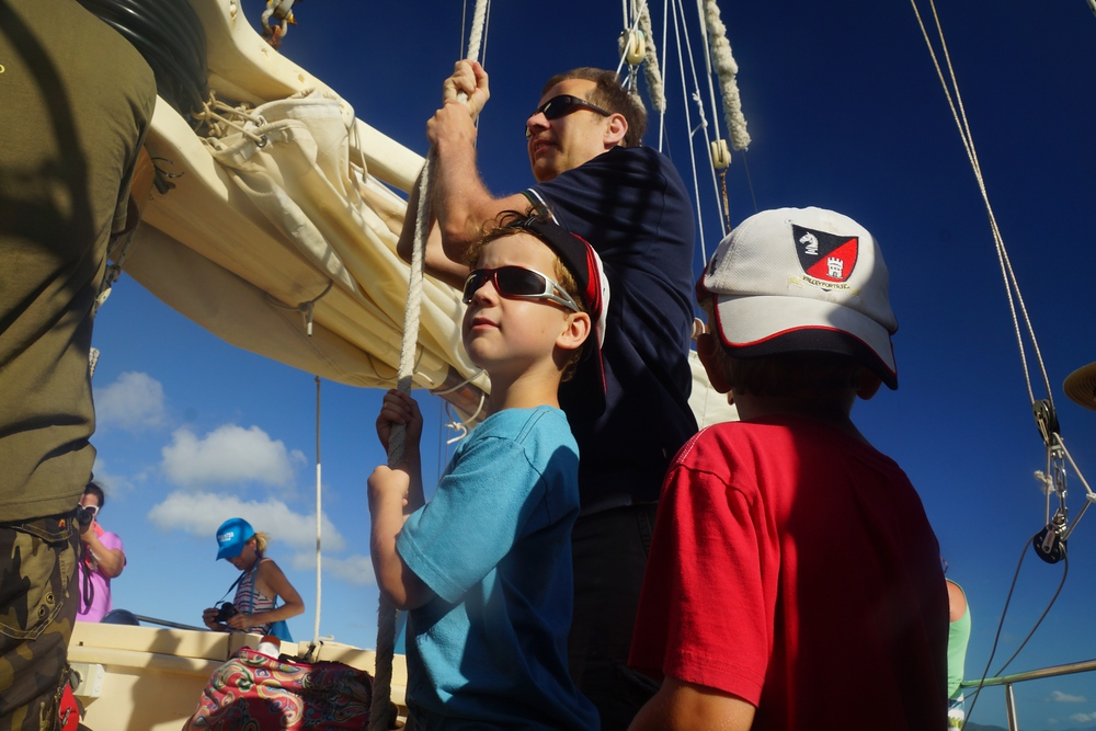 Raising the sails was a family affair. I'm not sure who enjoyed doing this more - Dad or the kids.