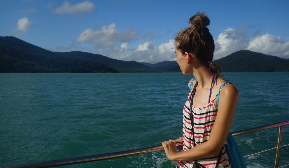 Here Audrey admires the scenery aboard the Derwent Hunter.