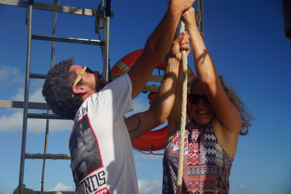 This couple was all smiles as they helped raise the sails of the Derwent Hunter.