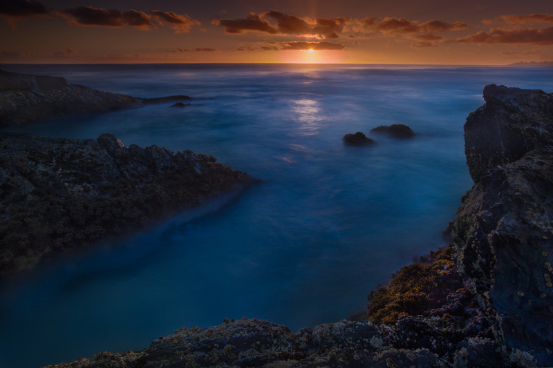 Sunrise at  Currumbin beach in Queensland.