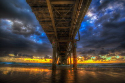 Sunrise under the Pier at The Spit