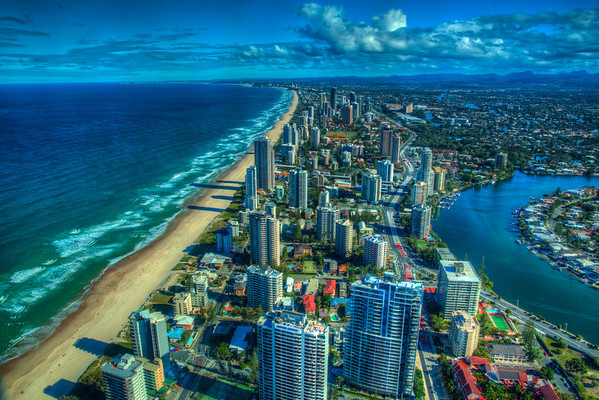 Looking down the the Gold Coast from the Q1 Building.
