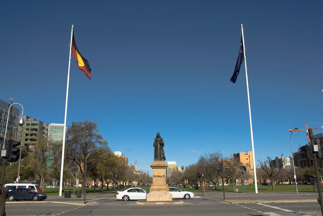 Flags and Victoria Statue - Adelaide, South Australia