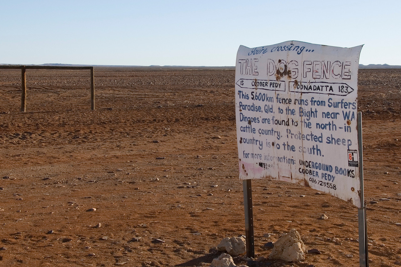 Dog Fence Sign - Coober Pedy, South Australia
