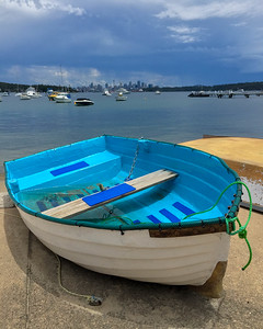 Blue boat with a view