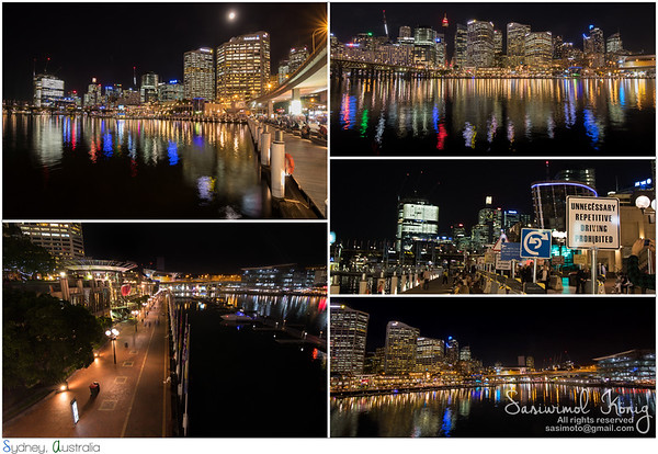 Harbourside promenade with view of Sydney at night