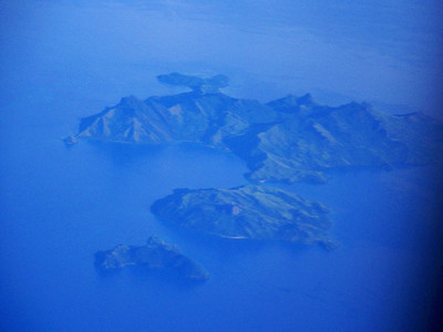 islands seen from plane, somewhere over the south Pacific