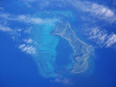 island seen from plane, somewhere over the south Pacific