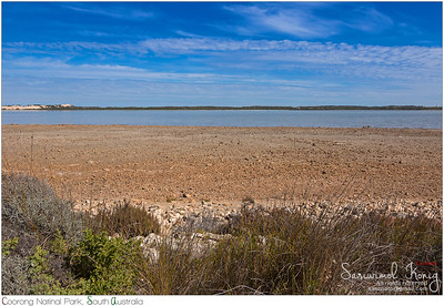 The Coorong and sand dune Younghusband Peninsula across the water