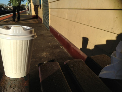2 degrees at Collingwood Station, and the coffee is as much to warm my hands as it is to wake me up.
