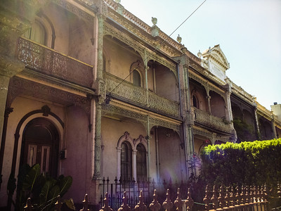 Harsh, direct sunlight can't hide the antique beauty of these terrace houses.