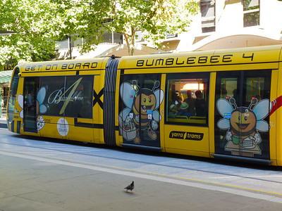Melbourne's trams are decorated in many different ways