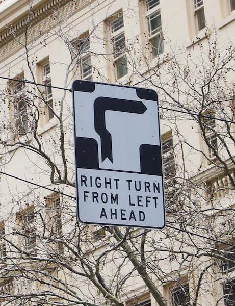 Hook turn<br /> <br /> Balról jobbra tábla
