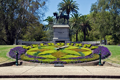 Flower Garden and Statue - Melbourne, Australia