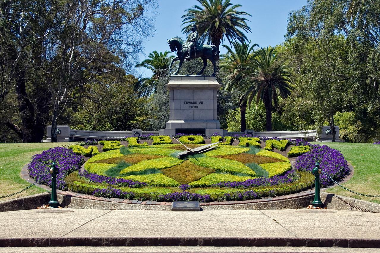 Flower Garden and Statue - Melbourne, Australia