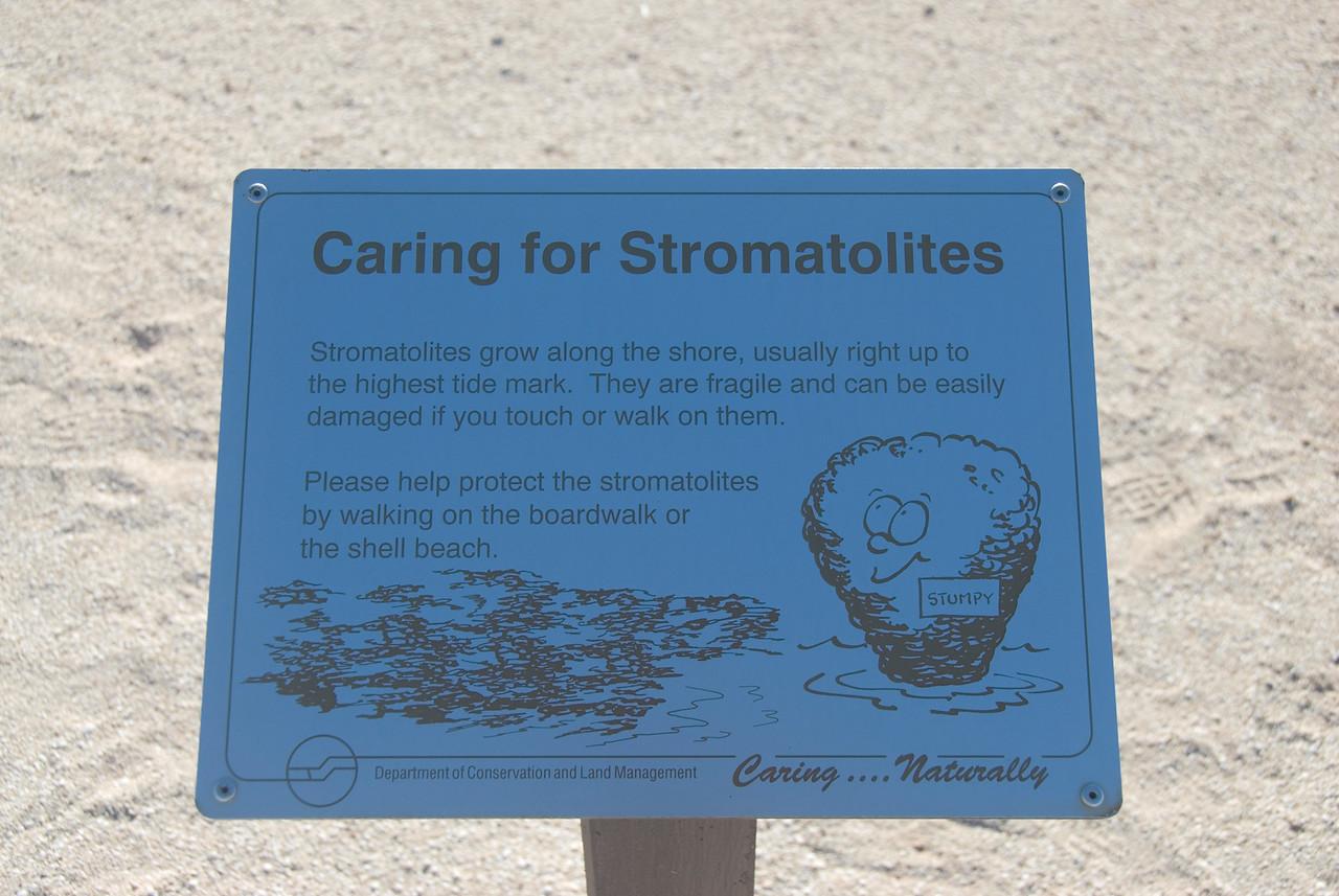 Stromatolite Sign, Hamelin Pool - Shark Bay, Western Australia