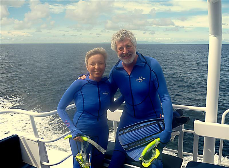 "Not the loveliest of costumes, but these ""stinger suits"" protected us from nasty jellyfish."