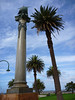 Lots of monuments and lots of green parks everywhere in Melbourne, but I couldn't figure out what this one was for.  That's a sail on the top.  The photo makes it look like the column and the palm tree are leaning into each other.