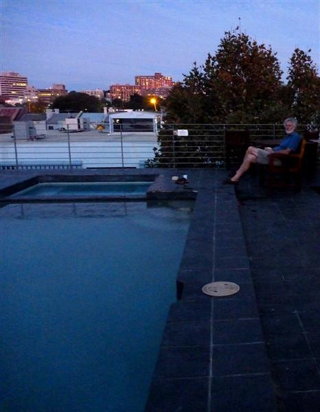 Peter and the rooftop pool, our apartment house for two days in Sydney.