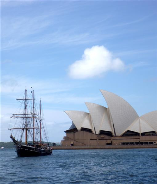 One of two tall ships that appeared in Sydney Harbour.  They both happened to be leaving their berths as we walked by.