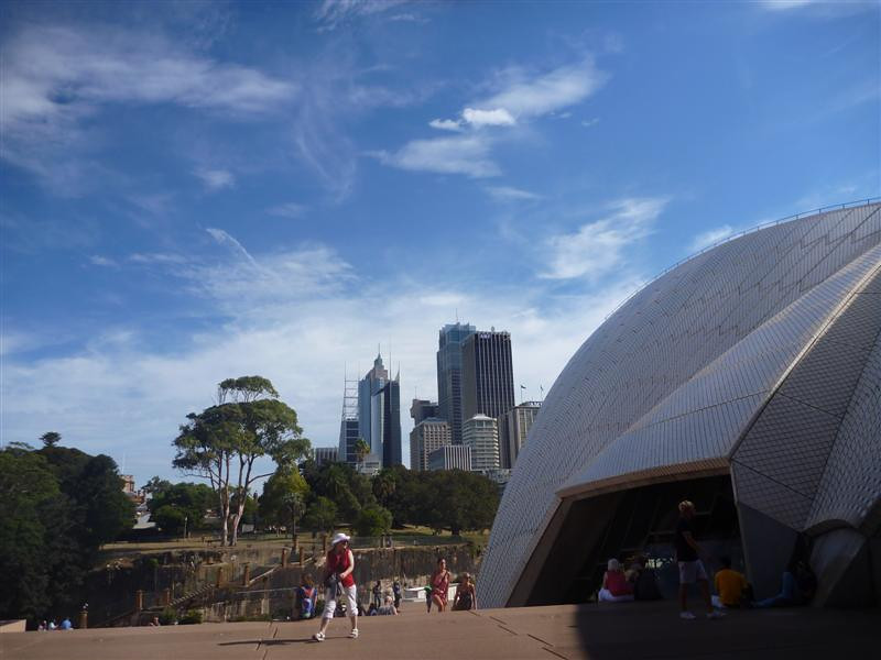 Mrs. Macquarie's gardens (she was wife of the first governor of Australia) and the modern city skyline behind the  Opera House.