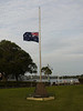 The Australian flags fly at half staff today.  An Australian soldier was killed in Afghanistan last week.