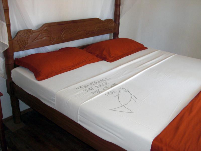 Last day of bed make up at Aquarius Beach Resort.  What's that on the bed???<br /> Watamu, Kenya