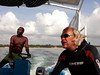 Heading out for diving, Lorenzo and captain.<br /> Watamu, Kenya