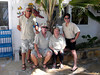 L-R: Blue Fin Diving owners, Lorenzo de Ponti and Angelo de Faveri, with Christiane and Kevin.<br /> Watamu, Kenya