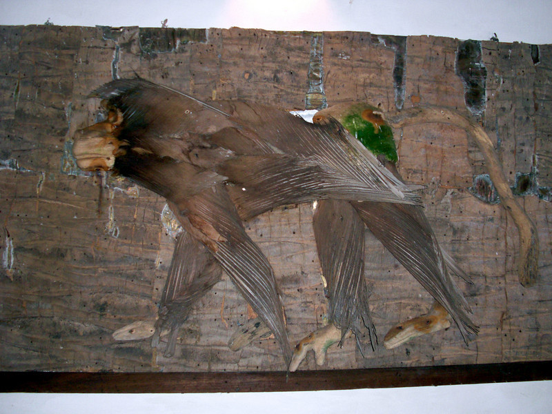 """Large """"Baboon"""" collage artwork, made from natural materials, in Camella & Angelo's home.<br /> Malindi, Kenya."""