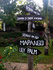 Signs to Mapango Restaurant and other destinations.<br /> Aquarius Beach Resort, Watamu, Kenya