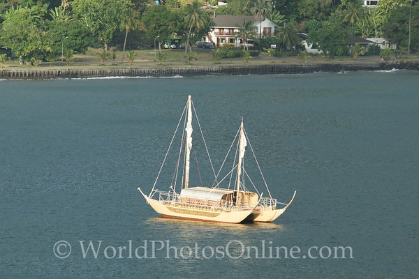 Marquesas - Nuku Hiva - Taiohae  Bay - Recreation of Interisland Boat for Festival 1