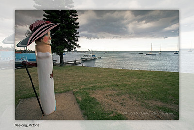 I loved Geelong especially the bollards created by artist Jan Mitchell.  There are 100 of them depicting something reminicent of Geelong, most of which are found along the waterfront.  I think they make Geelong very unique and give the town a character not found anywhere else.   This one is Carrie Moore, born in Geelong and became a musical comedy star, performing in Melbourne & London. Geelong, Victoria, Australia.  Photographed February 2012 - © 2012 Lesley Bray Photography - All Rights Reserved.
