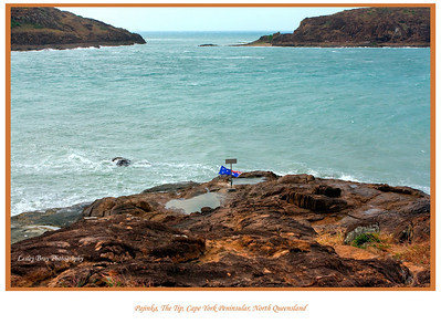 Ever wondered what it looks like at the most northerly point of Australia?  I guess not!!!   Here it is!  Simply referred to as 'The Tip', it is found at the very top of remote Cape York Peninsular.  The aboriginal name is Pajinka.  It wouldn't be nice to fall into the water as the sea runs very quickly.  The two islands to the north are York Island and Eborac Island.  To access this remote spot you have to climb/walk over the high volcanic rock or if you are lucky and it is low tide you can find access by Frangipani Beach and walk past the stilted mangroves.